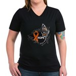 Hope Multiple Sclerosis Women's V-Neck Dark T-Shir