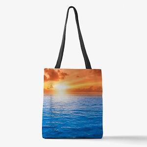 Ocean Sunset Polyester Tote Bag