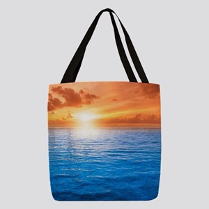 Ocean Sunset Polyester Tote Bag