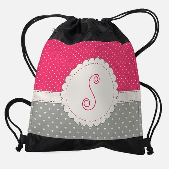 Cute Monogram Letter S Drawstring Bag