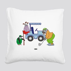 Playing Golf Square Canvas Pillow