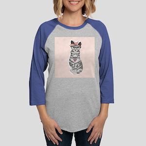 Hipster Cat Womens Baseball Tee