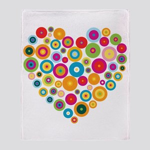 Concentric Circles Heart Throw Blanket