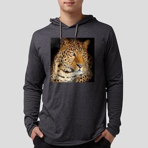 Leopard Portrait Mens Hooded Shirt