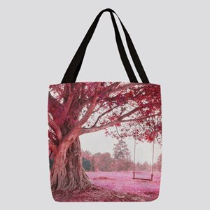 Pink Tree Swing Polyester Tote Bag