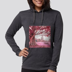 Pink Tree Swing Womens Hooded Shirt