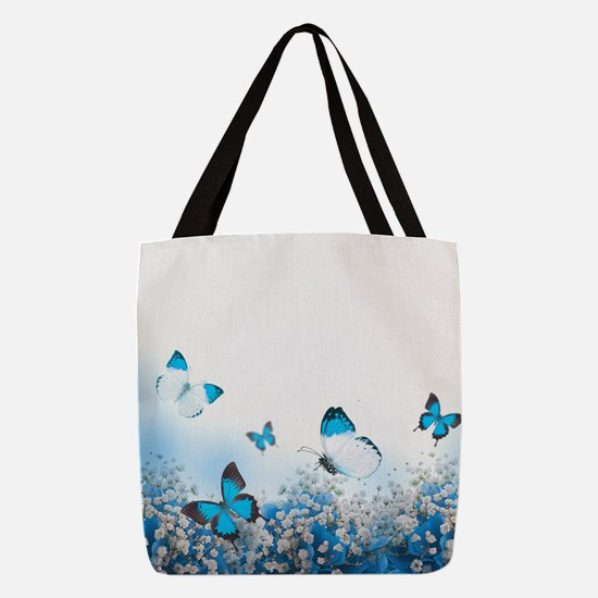 Flowers and Butterflies Polyester Tote Bag