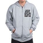 Weights heavy and squats down low Zip Hoodie