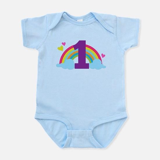 1st Birthday Rainbow Hearts Infant Bodysuit