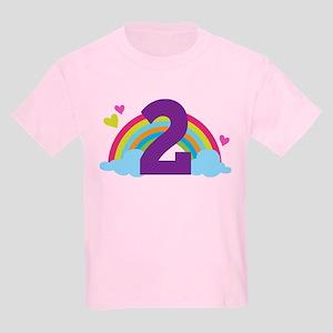2nd Birthday Hearts and Rainbow Kids Light T-Shirt