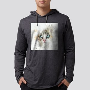 Kitten Painting Mens Hooded Shirt