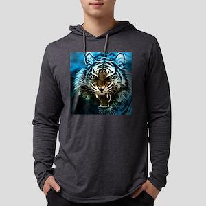 Fractal Tiger Art Mens Hooded Shirt