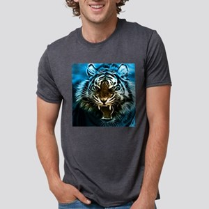 Fractal Tiger Art Mens Tri-blend T-Shirt