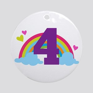 4th Birthday Heart Rainbow Ornament (Round)