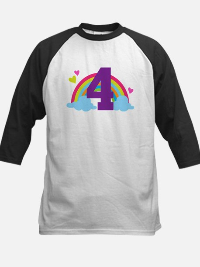 4th Birthday Heart Rainbow Kids Baseball Jersey