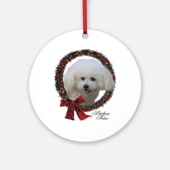 Bichon Frise Christmas Round Ornament