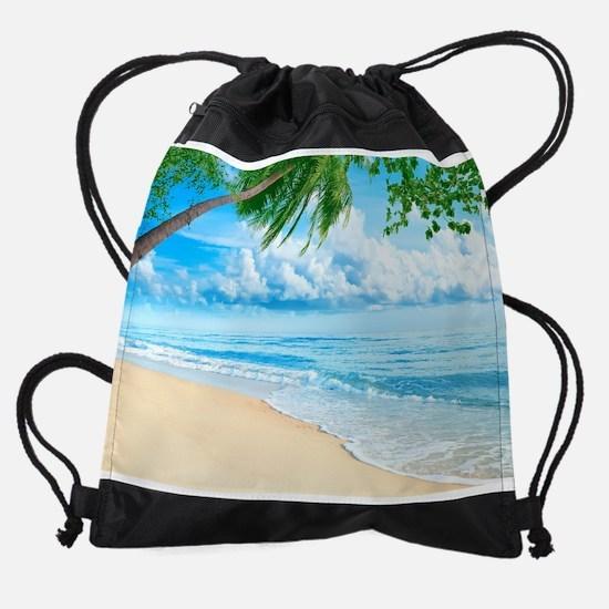 Tropical Beach Drawstring Bag