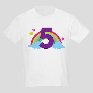 5th Birthday Rainbow Kids Light T-Shirt