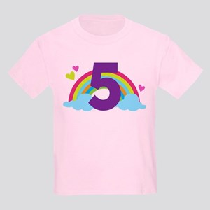 5th Birthday Rainbow Kids Light T-Shirt