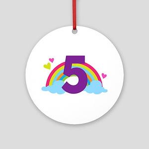 5th Birthday Rainbow Ornament (Round)