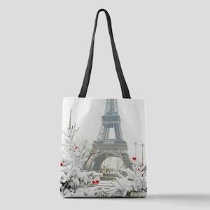 Winter in Paris Polyester Tote Bag
