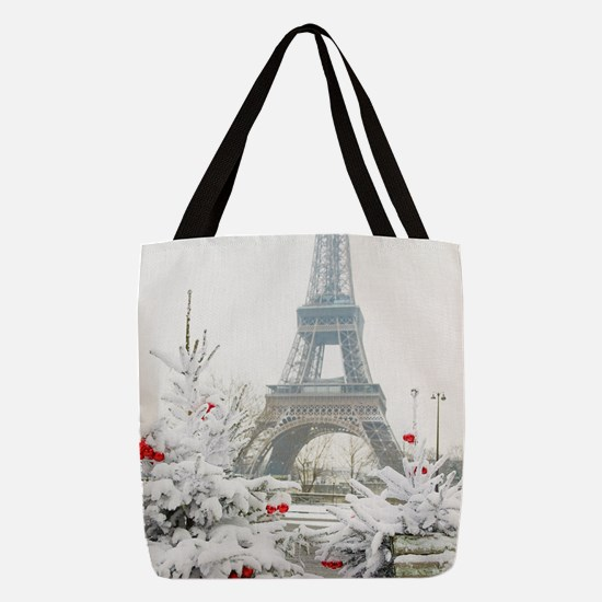 Winter in Paris Polyester Tote Bag