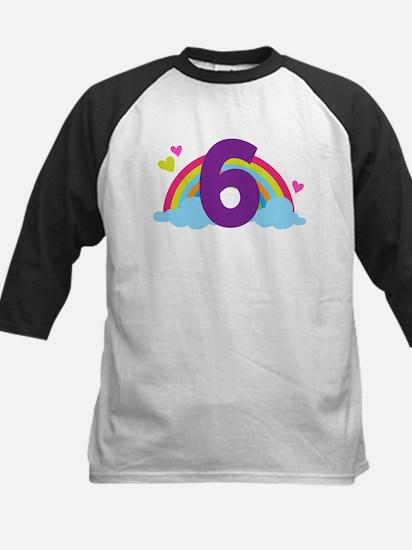 Rainbow 6th Birthday Kids Baseball Jersey
