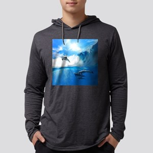 Beautiful Dolphins Mens Hooded Shirt