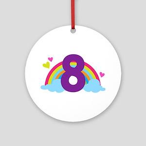 Heart Rainbow 8th Birthday Ornament (Round)