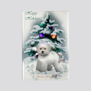 Bichon Frise Christmas Rectangle Magnet (10 pack)
