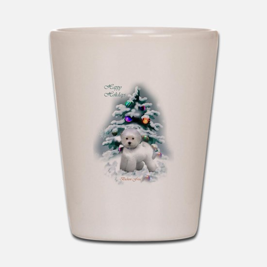 Bichon Frise Christmas Shot Glass