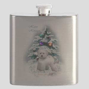 Bichon Frise Christmas Flask