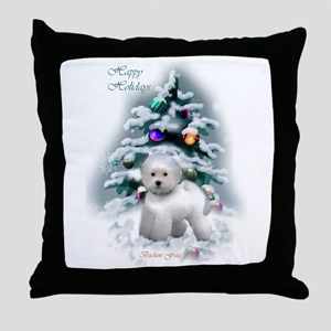 Bichon Frise Christmas Throw Pillow