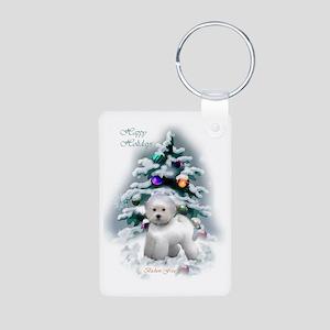 Bichon Frise Christmas Aluminum Photo Keychain