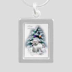 Bichon Frise Christmas Silver Portrait Necklace