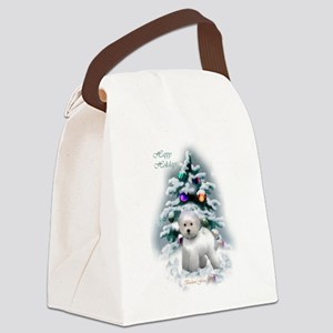 Bichon Frise Christmas Canvas Lunch Bag