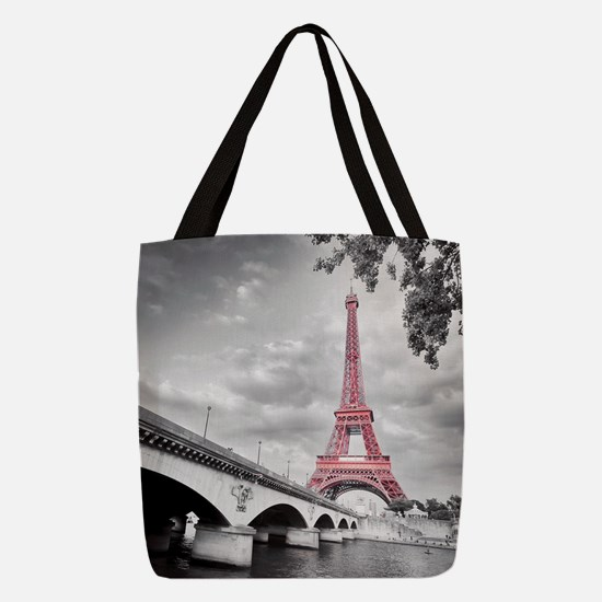 Pink Eiffel Tower Polyester Tote Bag