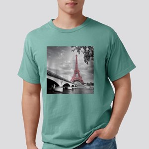 Pink Eiffel Tower Mens Comfort Colors Shirt