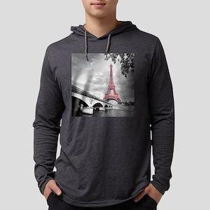 Pink Eiffel Tower Mens Hooded Shirt