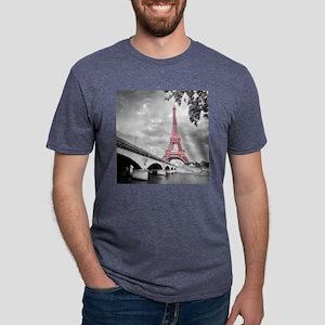 Pink Eiffel Tower Mens Tri-blend T-Shirt