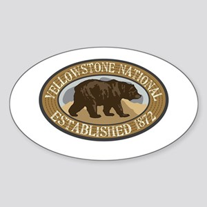 Yellowstone Brown Bear Badge Sticker (Oval)