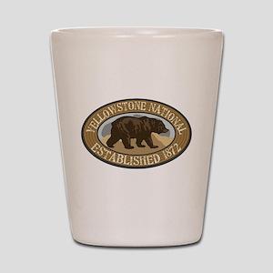 Yellowstone Brown Bear Badge Shot Glass