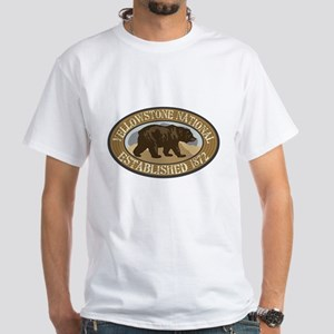 Yellowstone Brown Bear Badge White T-Shirt