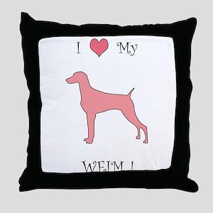 Love My Weim Pink Throw Pillow