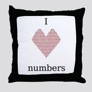 I Heart Numbers Throw Pillow