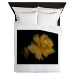 Yellow rose and bud Queen Duvet