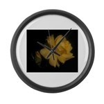 Yellow rose and bud Large Wall Clock