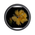 Yellow rose and bud Wall Clock