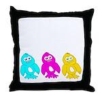 CMY Penguins Throw Pillow