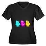 CMY Penguins Women's Plus Size V-Neck Dark T-Shirt